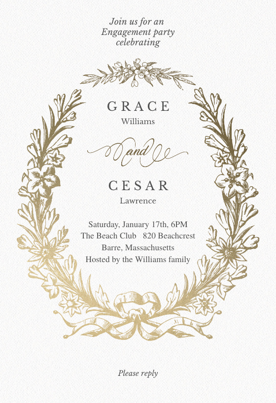Engagement Party Invitation Templates Unique Golden Wreath Engagement Party Invitation Template Free