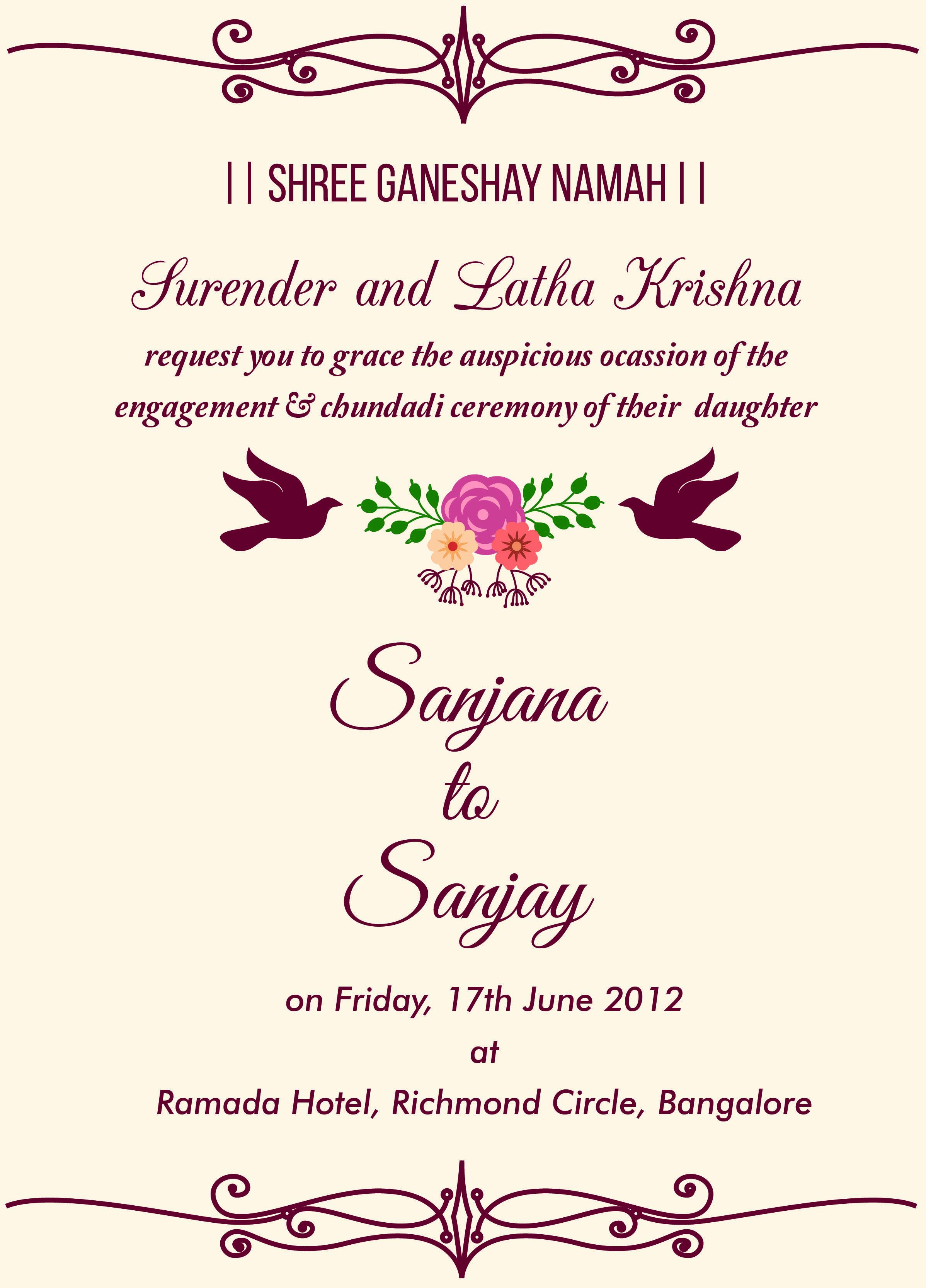 Engagment Party Invitation Wording Elegant Indian Engagement Invitation Wordings