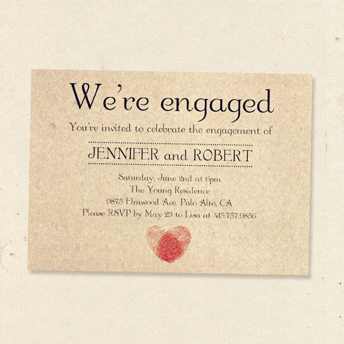 Engagment Party Invitation Wording Inspirational Romantic Fingerprint Rustic Engagement Party Invitation