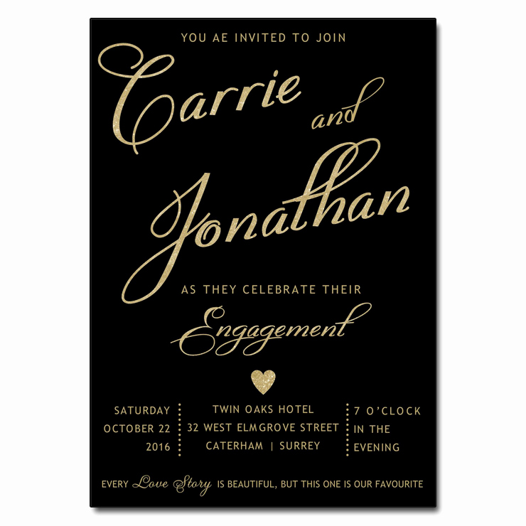 Engagment Party Invitation Wording New Black & Gold Engagement Party Invitations