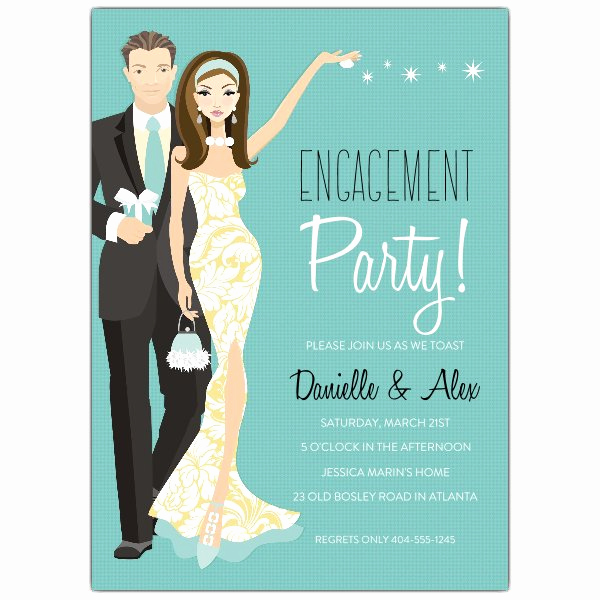 Engagment Party Invitation Wording Unique Engagement Party Brunette Invitations