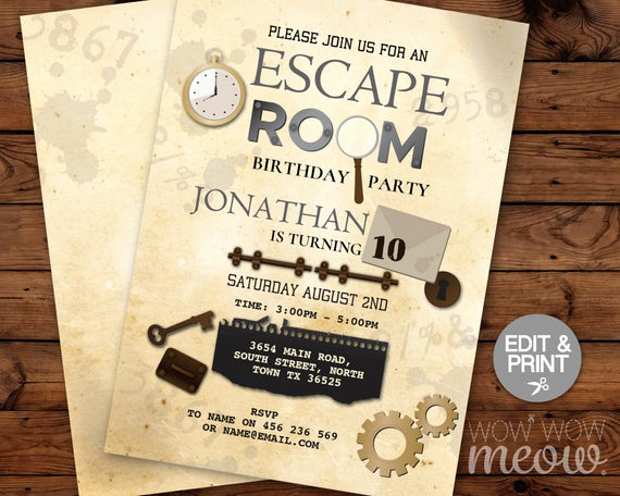 Escape Room Birthday Invitation Awesome Escape Room Invitation Birthday Invite Challenge Instant