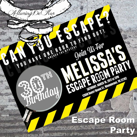 Escape Room Birthday Invitation Beautiful Escape Room Party Invitation