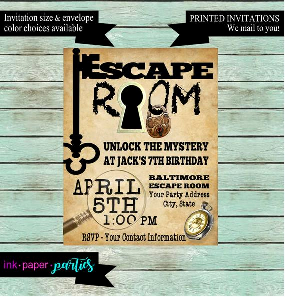 Escape Room Birthday Invitation Elegant Escape Room Mystery Puzzle Birthday Party Invitations Invites