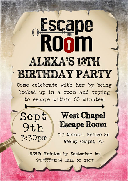 Escape Room Birthday Invitation Fresh Escape Room Birthday Party Invitations