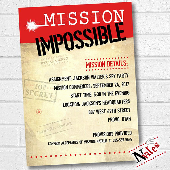 Escape Room Birthday Invitation Fresh Mission Impossible Invitation Spy Party Invitation Mission