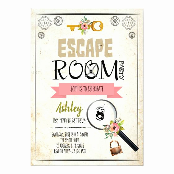 Escape Room Birthday Invitation Inspirational Escape Room Girl Invitation – Birthday Party Invitations