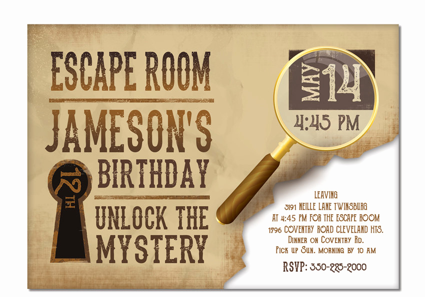 Escape Room Birthday Invitation Inspirational Escape Room Invite Boys or Girls Birthday Invitation Gold