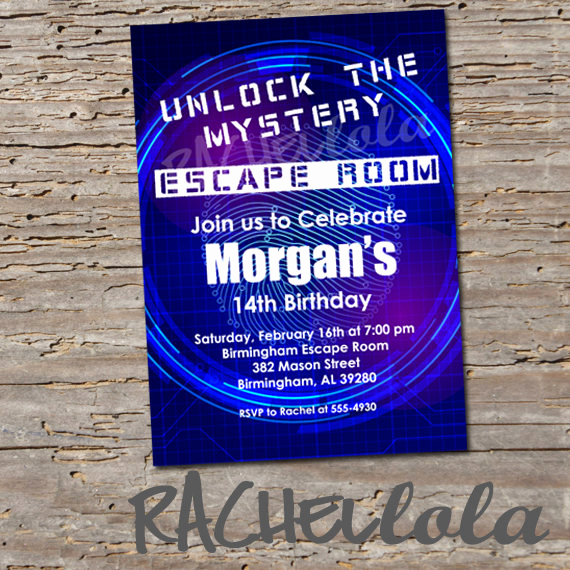 Escape Room Birthday Invitation Inspirational Escape Room Party Birthday Invitation Digital Print