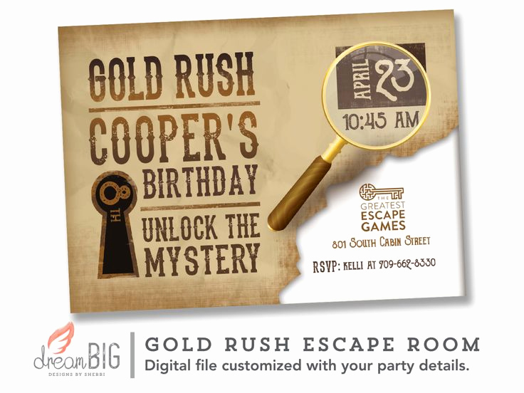 Escape Room Birthday Invitation Inspirational Escape Room Unlock the Mystery Tan Invitation Key Lock
