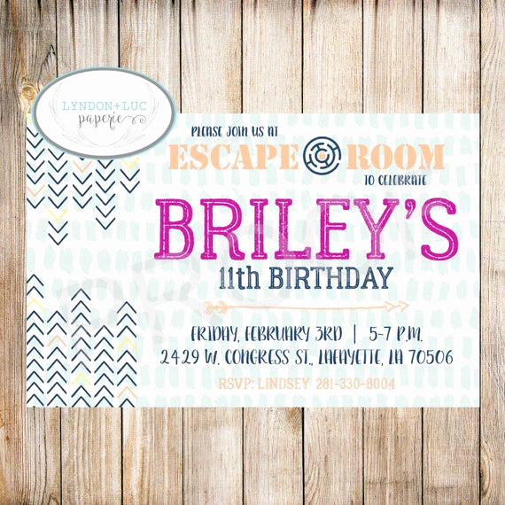 Escape Room Birthday Invitation Lovely Escape Room Birthday Party Invitation