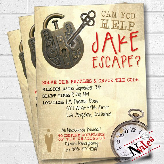 Escape Room Birthday Invitation Lovely Escape Room Party Invitation Escape Room Party Escape