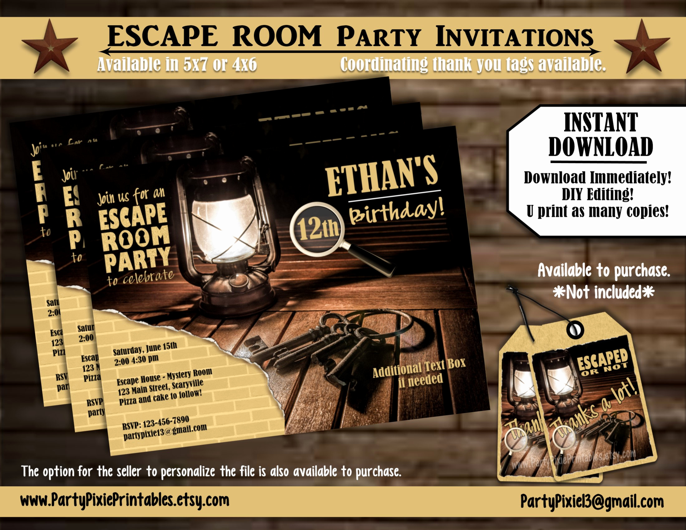 Escape Room Birthday Invitation Lovely Instant Download Escape Room Party Invitations 5x7 4x6