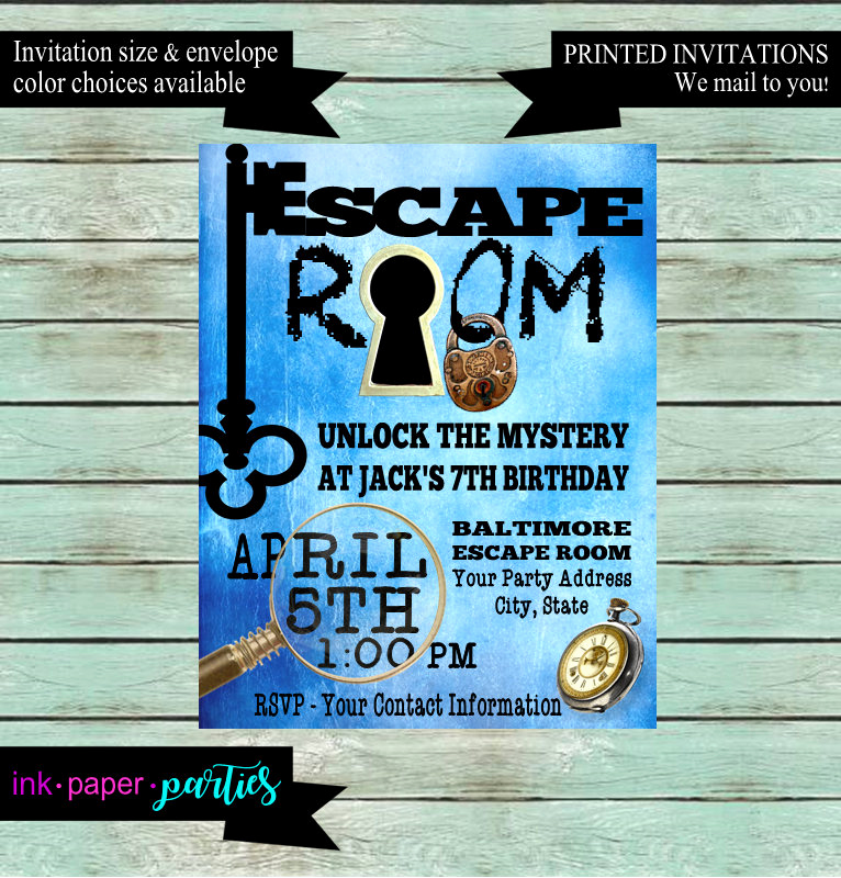 Escape Room Birthday Invitation Luxury Escape Room Mystery Puzzle Blue Birthday Party Invitations