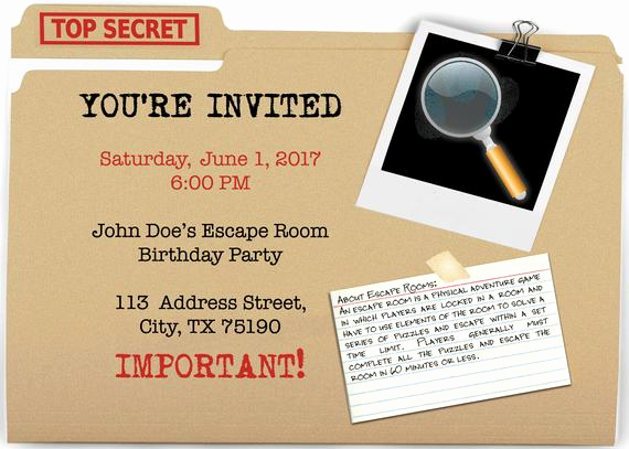 Escape Room Birthday Invitation New Escape Room Party Invite