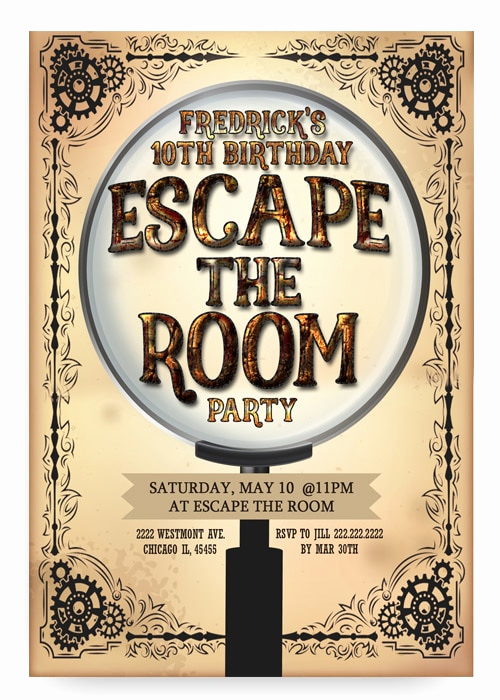 Escape Room Birthday Invitation Unique Escape Room Birthday Invitation