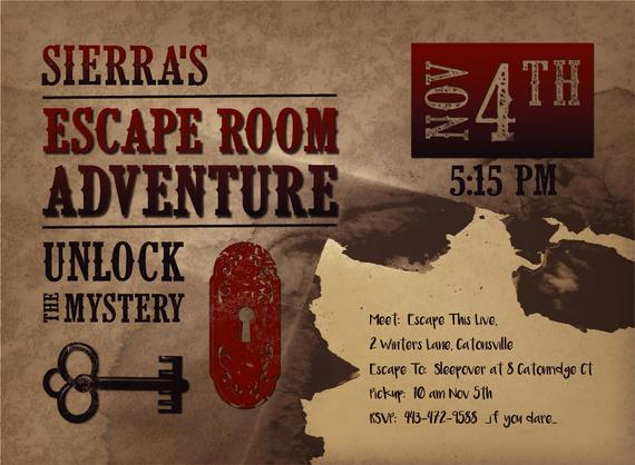 Escape Room Birthday Invitation Unique Printable Escape Room Party Invite Western Escape Room