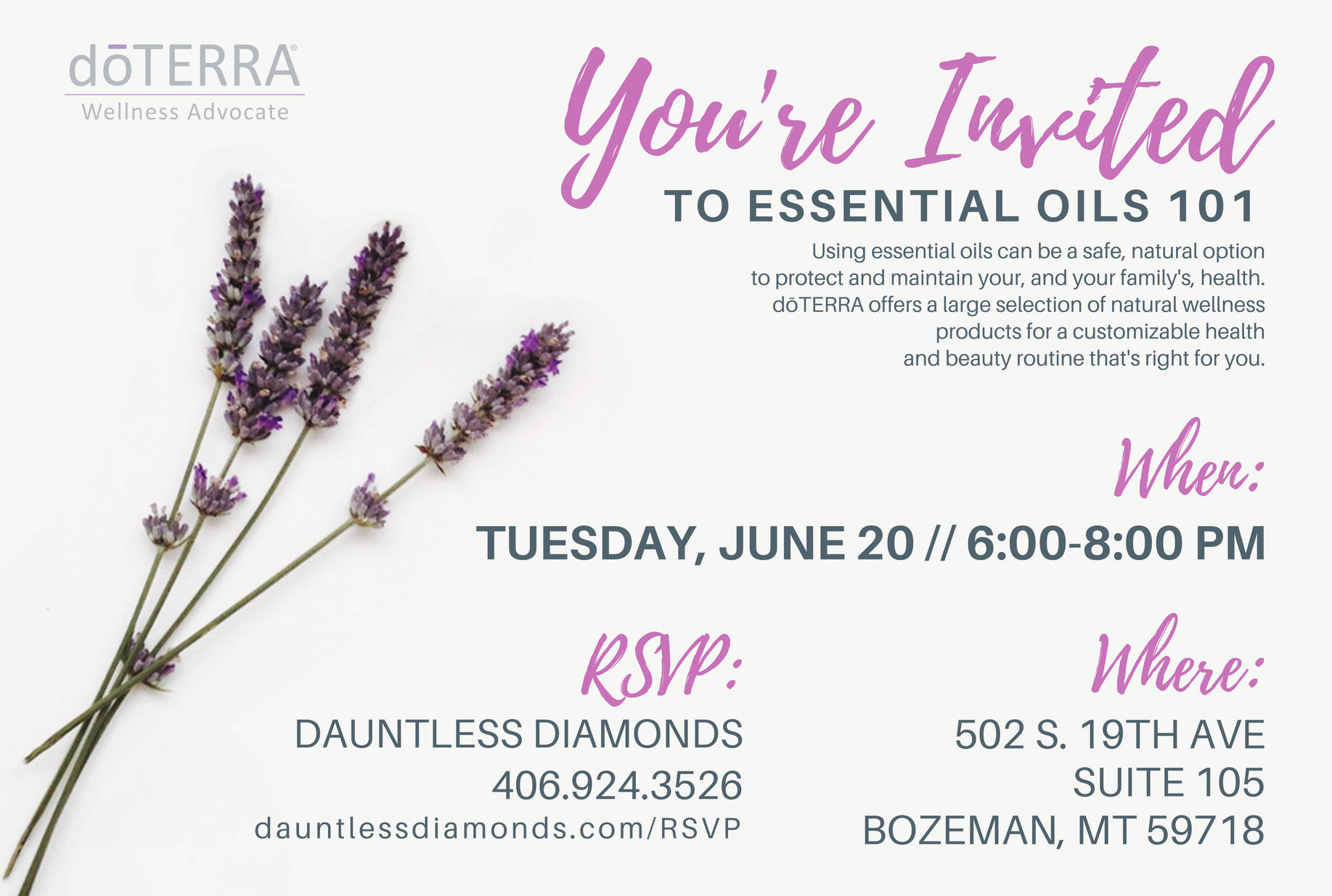 Essential Oils Class Invitation Awesome Doterra Class Invitation Lavender Ii