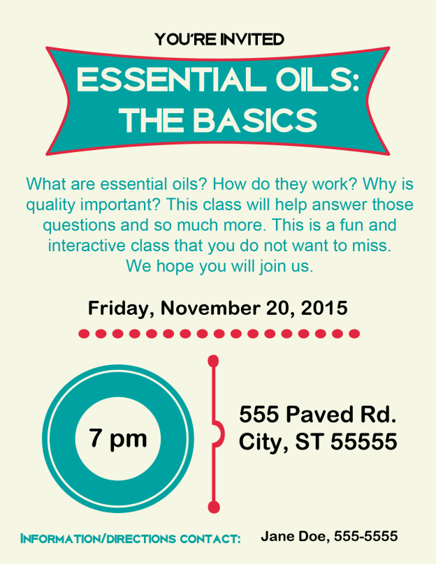Essential Oils Class Invitation Best Of Yl Graphics