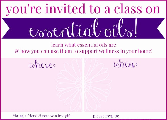 essential oil class invitation pink