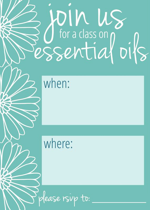 Essential Oils Class Invitation New Essential Oil Class Invitation Teal Daisy by