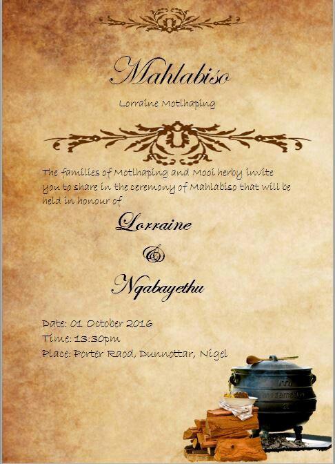 Ethiopian Wedding Invitation Card Lovely Umndeni Wakwa Mthethwa No Wakwa Mkhize Uyanimema Kumcimbi