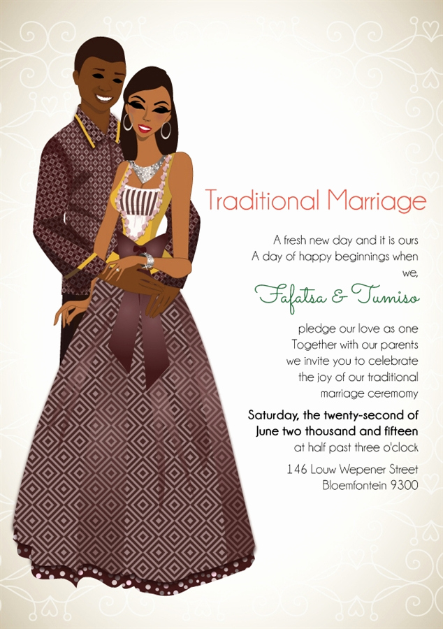 Ethiopian Wedding Invitation Card Luxury south African sotho Traditional Wedding Invitation Card