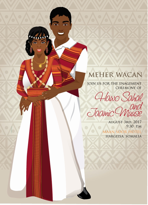 Ethiopian Wedding Invitation Card Luxury Waan Ku Jecelahay somali Traditional Wedding Invitation