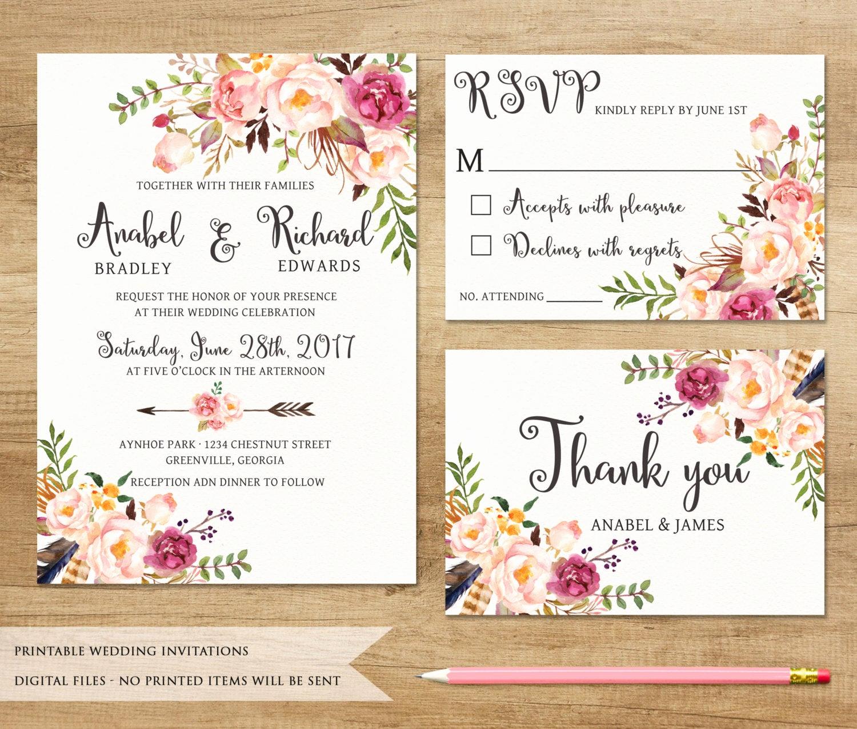 Ethiopian Wedding Invitation Cards Elegant Floral Wedding Invitation Printable Wedding Invitation