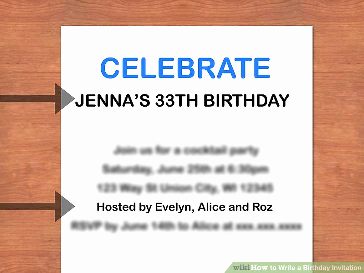 Example Of Birthday Invitation Beautiful How to Write A Birthday Invitation 14 Steps with