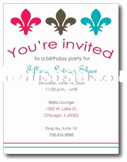 Example Of Birthday Invitation Lovely Invitation Card About A Birhtday Party
