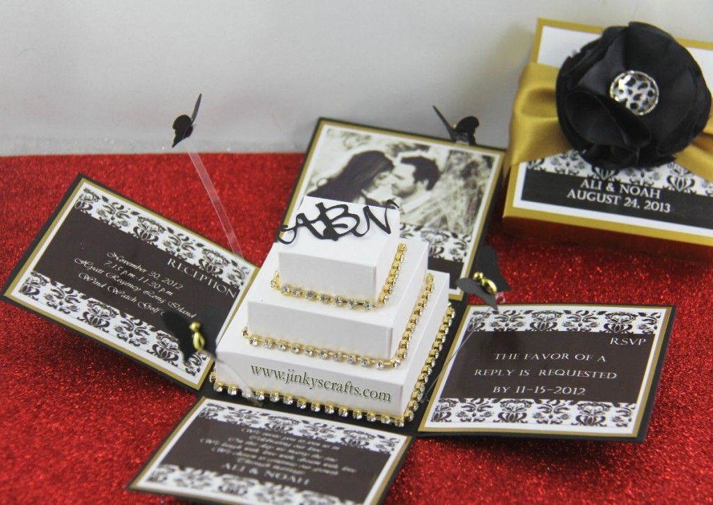 Exploding Box Invitation Kit Best Of Black Damask & Gold Exploding Box Wedding Invitation