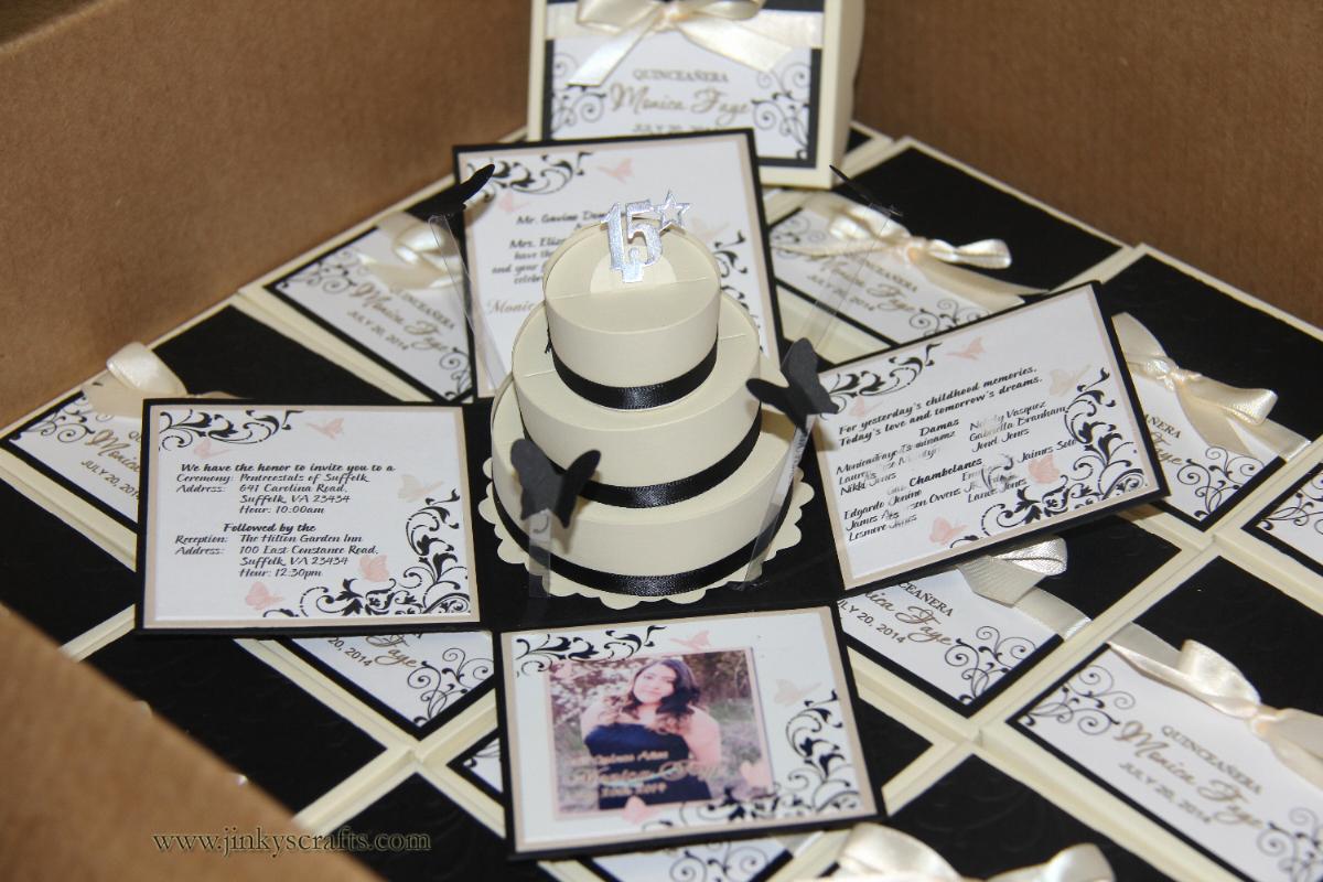 Exploding Box Invitation Kit Unique Jinky S Crafts & Designs Cream & Black Quinceanera