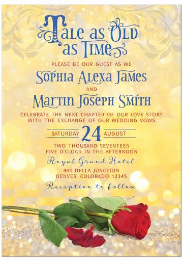 Fairytale Wedding Invitation Wording Awesome Fairytale Tale as Old as Time Wedding Invitation