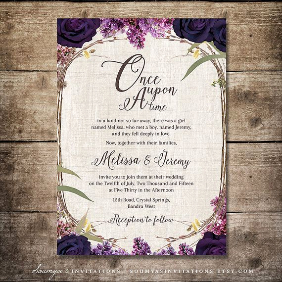 Fairytale Wedding Invitation Wording Beautiful Purple Wedding Invitation Fairy Tale Invitation