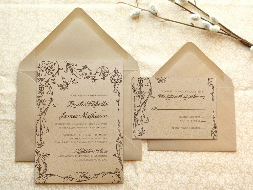 Fairytale Wedding Invitation Wording Elegant Fairy Tale Romance Kraft Garden Wedding Invitations Flower