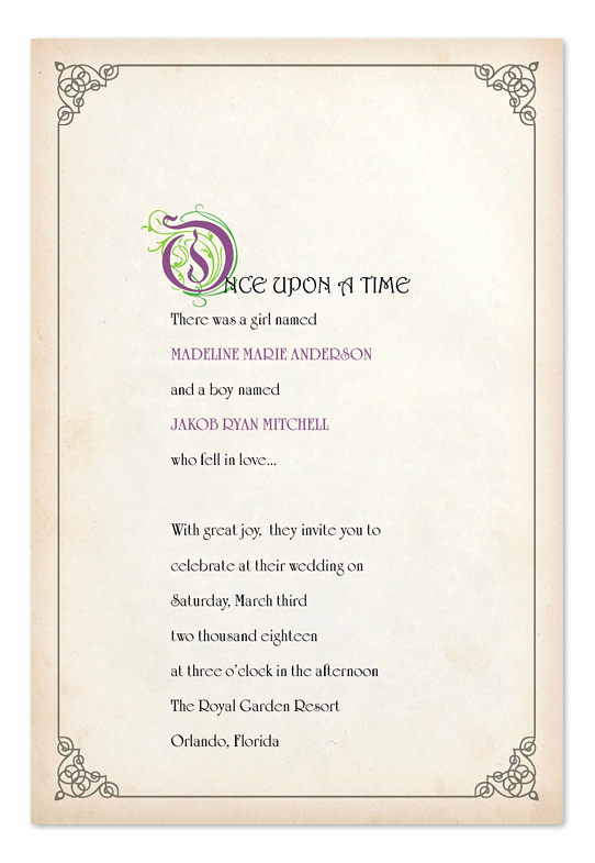 Fairytale Wedding Invitation Wording Fresh Story Book Ending Wedding Invitations by Invitation