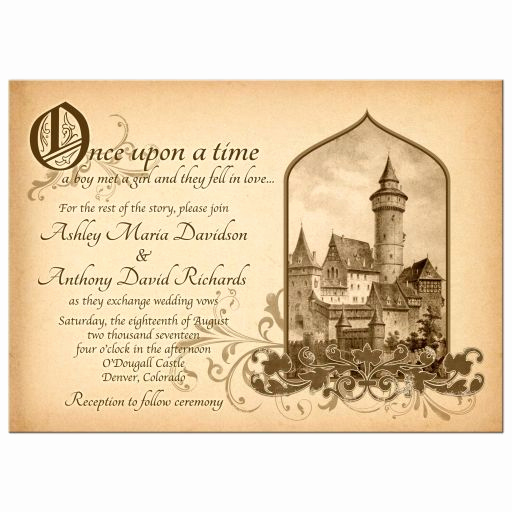 Fairytale Wedding Invitation Wording New Fairy Tale Castle Wedding Invitation Me Val Ce Upon A Time