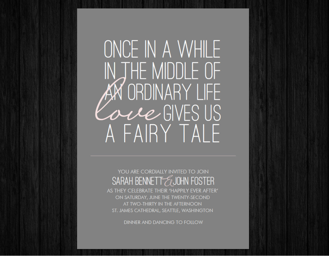 Fairytale Wedding Invitation Wording New Printable Fairy Tale Wedding Invitation Suite Rsvp & by