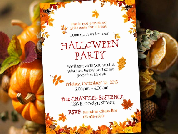 Fall Invitation Templates Free Beautiful Halloween Party Invitation Template Fall Party Invitation