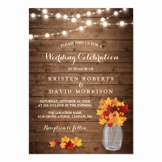 Fall Invitation Templates Free Best Of Autumn Leaves String Lights Rustic Fall Wedding Invitation