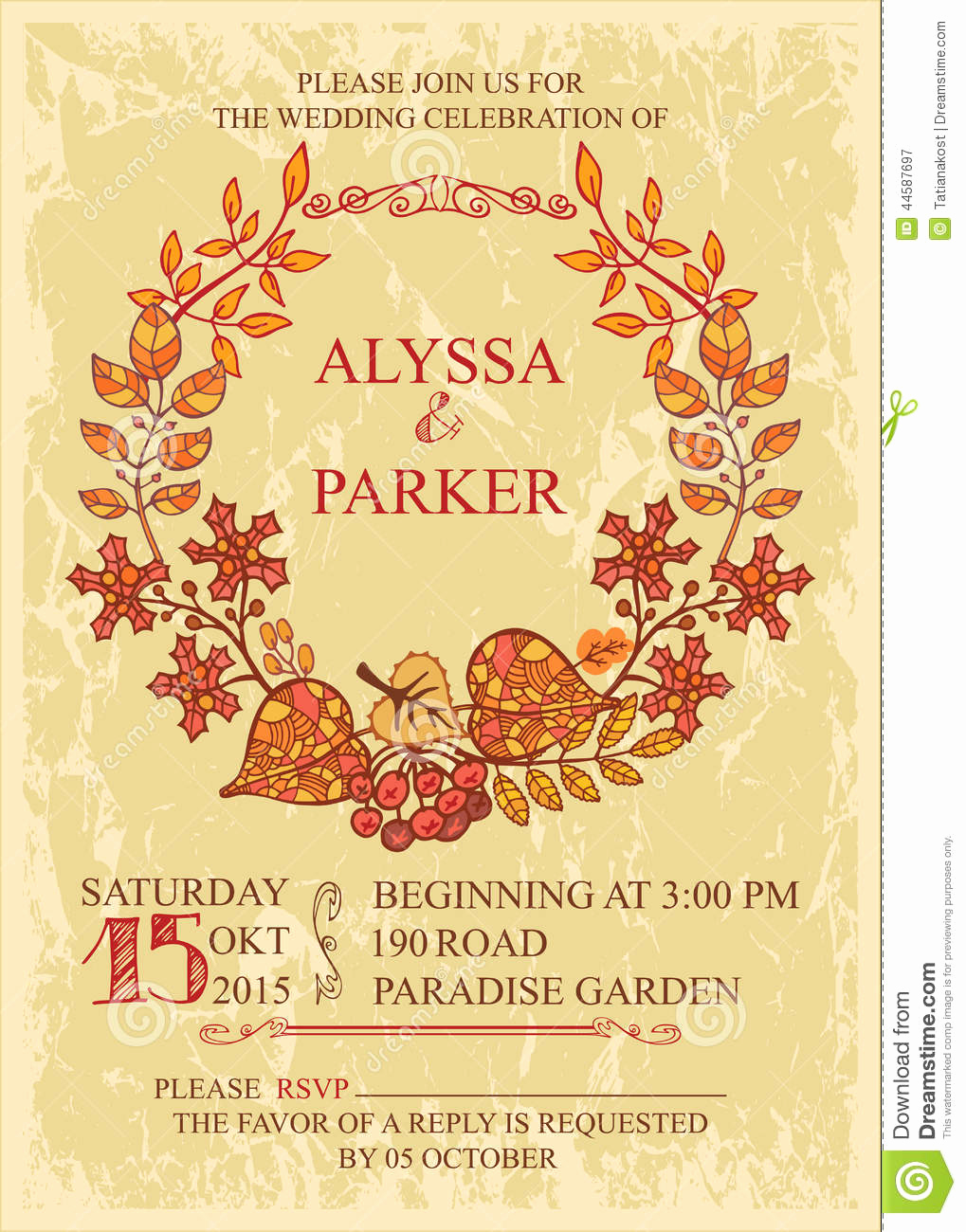Fall Invitation Templates Free Best Of Vintage Fall Wedding Invitation with Leaves Wreath Stock