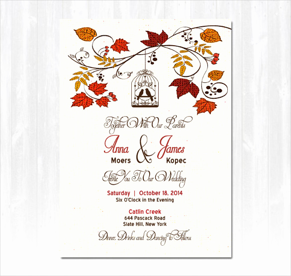 Fall Invitation Templates Free Elegant 26 Fall Wedding Invitation Templates – Free Sample
