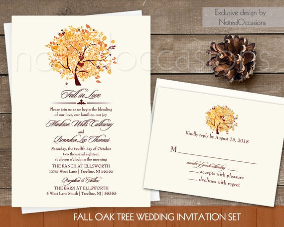Fall Invitation Templates Free Elegant Rustic Fall Wedding Invitation Set Printable by Notedoccasions