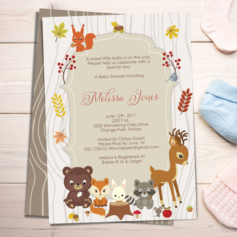 Fall Invitation Templates Free Lovely Fall Woodland themed Baby Shower Invitation Template forest