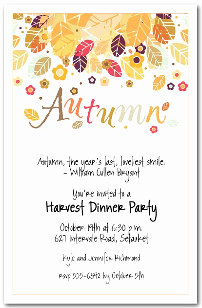 Fall Invitation Templates Free Luxury Fall Party Invitation Wording