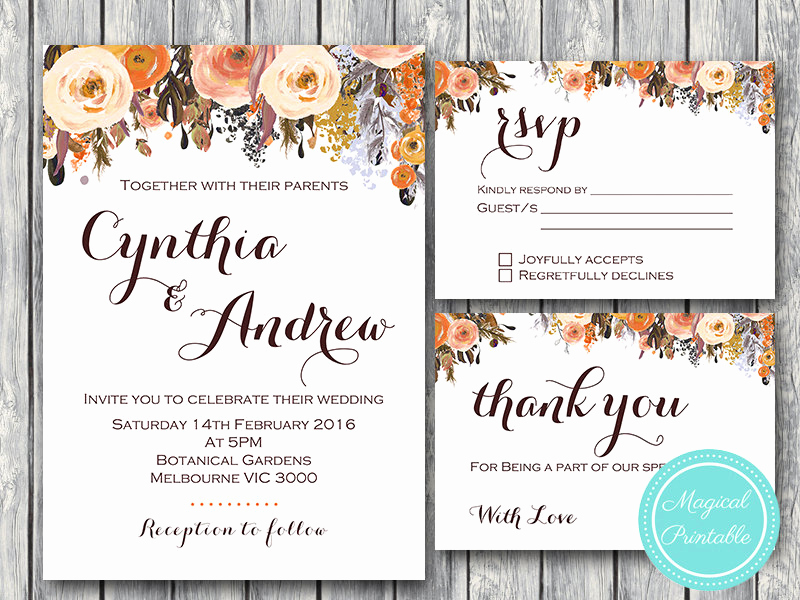 Fall Invitation Templates Free Luxury Fall Wedding Invitation Set Wedding Invitation Printable