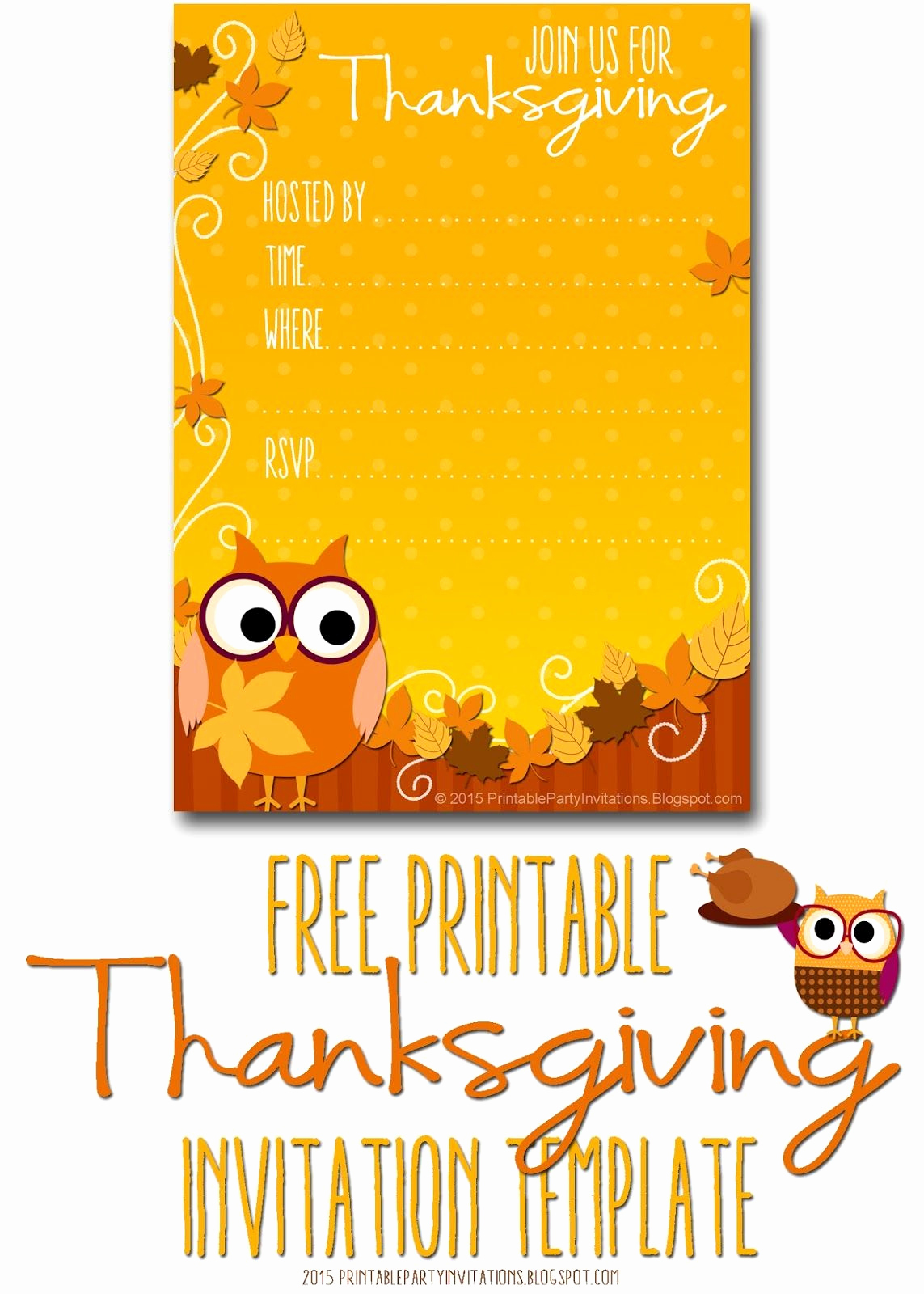 Fall Invitation Templates Free Luxury Free Printable Autumn Owl Thanksgiving Invitation Template