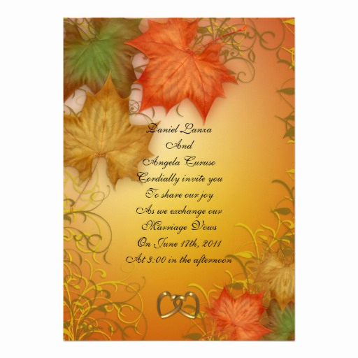 "Fall Invitation Templates Free New Fall Wedding Invitation or Party 5"" X 7"" Invitation Card"