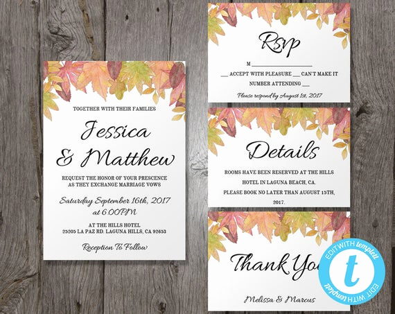 Fall Wedding Invitation Templates Best Of Fall Wedding Invitation Template Suite Autumn Leaves